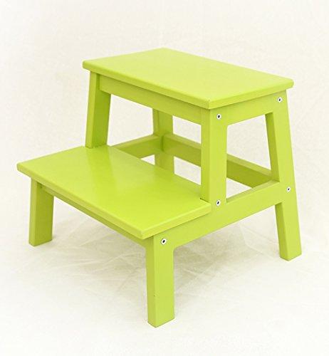 YAXIAO-stepSgabelli Scaletta Scaletta in Legno massello per la casa in Miniatura Mazar Che Cambia Le Scarpe Sgabello Scale Semplice Scala a 2 Livelli, 5 Colori opzionali (Color : Green)