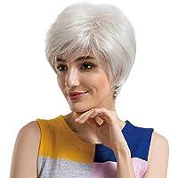 GNYD - Peluca sintética para mujer, elegante y con estilo, con inclinación negra,