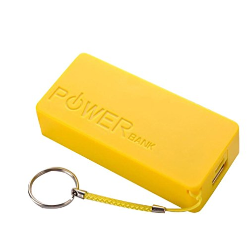 0mAh 2X 18650 USB-Energien-Bank-Aufladeeinheits-Fall DIY Kasten für iPhone Sumsang (Gelb) (Energie-bank-batterie-kasten)