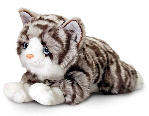 Plüschtier Katze grau getigert Jade, Keel Toys Kuscheltier liegend ca. 30 cm