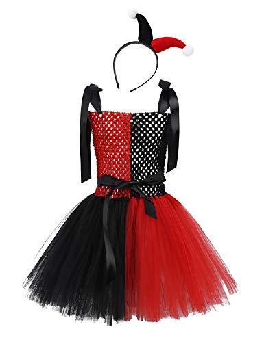 Mit Tutu Kostüm Clown - MSemis Clown Kostüm mit Haarreif für Mädchen Kinder Halloween Kostüm Schwarz Rot Kleid Tutu Harlekin Kostüm Verkleidung Set Gr. 80-152 Schwarz & Rot 98-110/3-5 Jahre