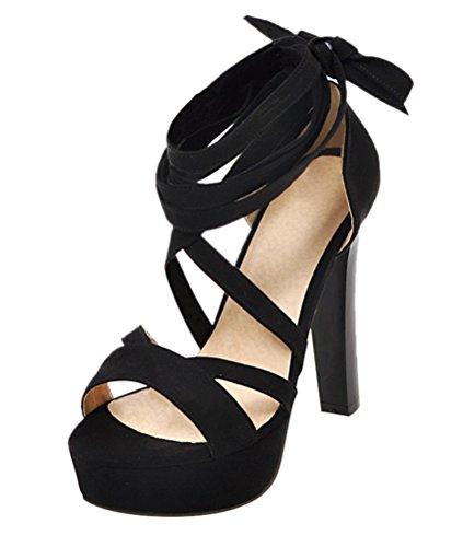 YE Damen High Heels Sandalen mit Schnürung Plateau Pumps Offen 12CM Absatz Sommer Abend Schuhe