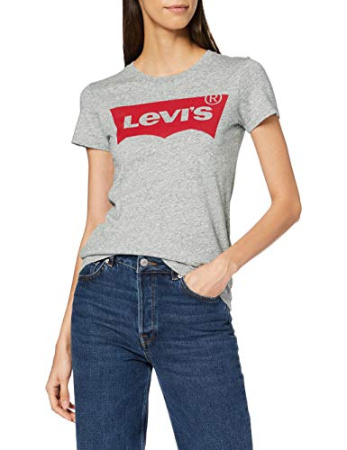 Levi\'s Damen T-Shirt, The Perfect Tee, Grau (Better Batwing Smokestack Smokestack Htr 263), Gr. S