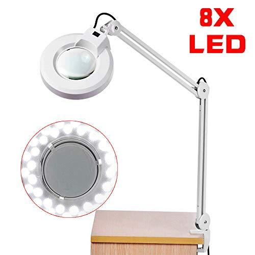 8X Lupa Lámpara de mesa Lámpara de mesa Mesa lupa Electrónica DIY 5D Blanco 8 dioptrías 36LED