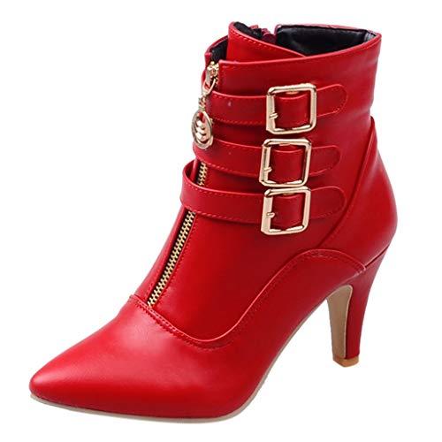 DAIFINEY Damen Kunstleder Herbst Vintage Spitzschuhe Bequeme Flache Fersenstiefel Reißverschluss Thermostiefel Kurzer Boot(Rot/Red,39) Womens Plaza Mid Boot