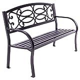 Nexos Gartenbank Parkbank Aluminium 128x50x82 cm 3-Sitzer Alu-Bank Sitzbank Gartenmöbel – Farbe: grau