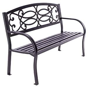 Nexos Gartenbank Parkbank Metall 128x50x82 cm 3-Sitzer Metall-Bank Sitzbank Gartenmöbel – Farbe: grau