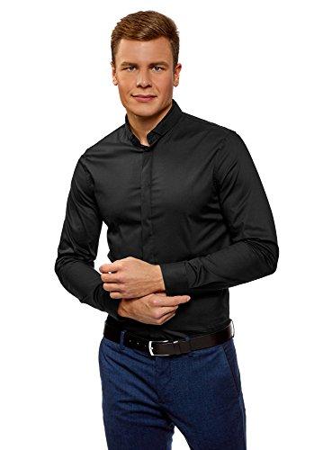 Oodji ultra uomo camicia slim fit con collo coreana, nero, 43cm/it 52/eu 43/l