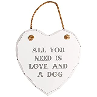 Sass & Belle All You Need is Love and A Dog Heart Plaque, White