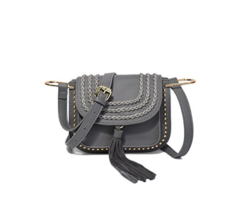GSHGA Womens Soft Leder Handtaschen Folk-Custom Tassel Handtaschen Schulterkreuze,Grey