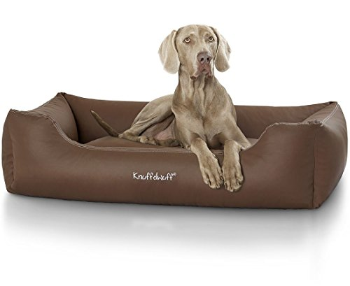Knuffelwuff 13106 Leder Hundebett Sidney - Größe XXL, 120 x 85 cm, braun