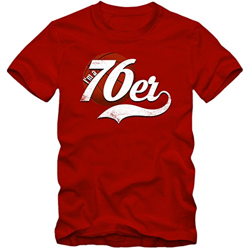True 76er #4 T-Shirt Herren Basketball Play Offs Trikot USA Fanshirt Tee, Farbe:Rot (Red L190);Größe:S