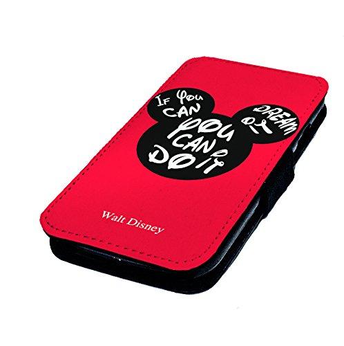 """Samsung Galaxy S6, """"Mickey können Sie es tun, Disney inspiriert"""". Kunstleder Flip Case."""