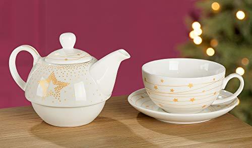 Gilde Tee-Set Tea for One 'Golden Star', 15 cm, Weiß mit Goldenem Stern