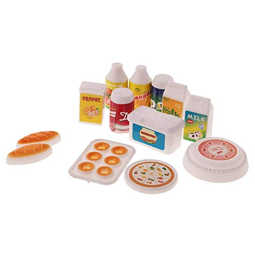 Uteruik 12-teiliges Puppenhaus Miniatur Küche Lebensmittel Saft Milch Getränke Brot Kuchen Set für Puppe Kinder Spielzeug -