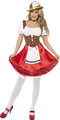 Smiffys, Damen Bayerisches Mädchen Kostüm, Kleid mit angesetzter Schürze, Größe: S, (Bayerische Amazon Kostüm)