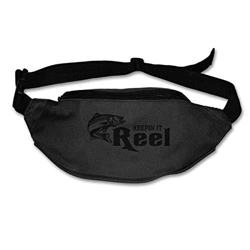 Waist Bag Fanny Pack Keepin It Reel Fishing Pouch Running Belt Travel Pocket Outdoor Sports -