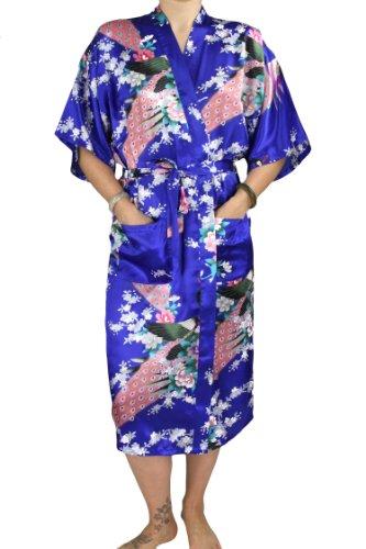 Faux Silk Coat (Evolatree Damen Bademantel Blau Königsblau Medium)