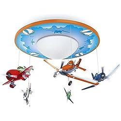 Philips Disney Aviones - Lámpara de techo, forma de plafón, LED, iluminación interior, luz blanca cálida, color naranja