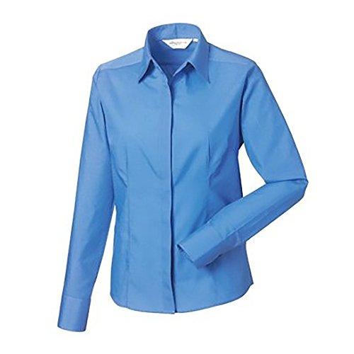 Russell Collection Popelin Bluse / Hemd, Langarm, pflegeleicht, tailliert Schwarz