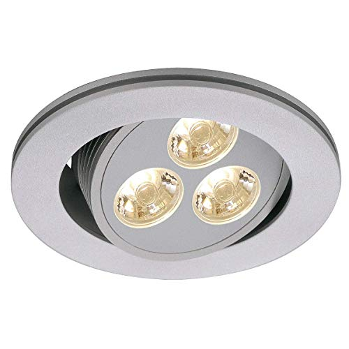 SLV 111852 Triton 3 LED Downlight, rond, gris argenté, 3 x 1 W LED, Blanc chaud, oscillant, 3200 K, Aluminium, Gris argenté,