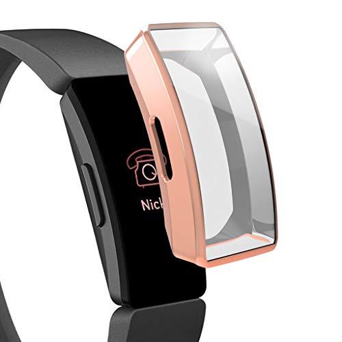 Huhu833 Schutzhülle für Fitbit Ace 2, Sport Art und Weise weiche Ultra-dünne TPU Rahmen Hülle Ultraflaches Bumper Protector Shell Kompatibel mit Fitbit Inspire/Inspire HR (Rosé Gold) -