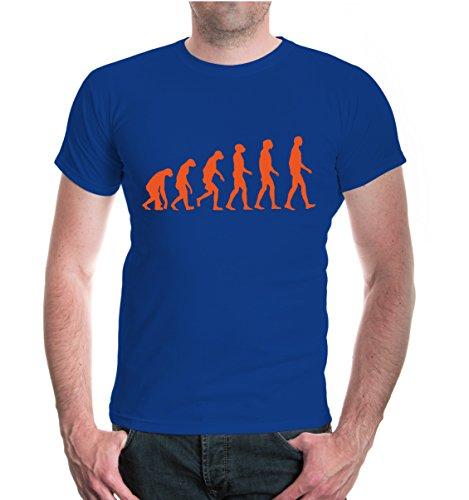 buXsbaum® T-Shirt The Evolution of man Royal-Orange