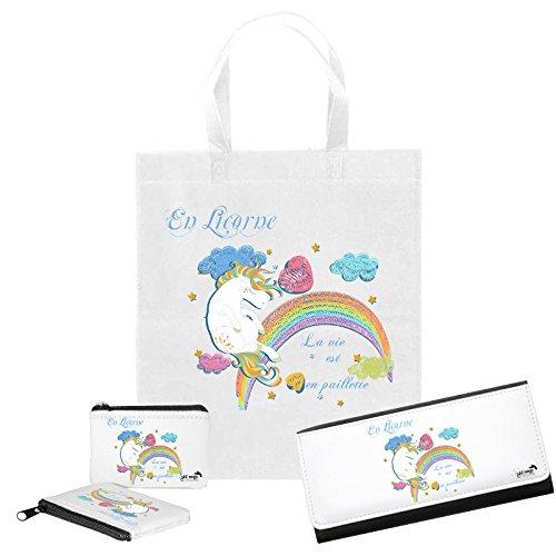 a9b7aa9964 Kit Fashion: Portafoglio + Portamonete + Tote Bag abbinata, motivo in  Unicorno, la