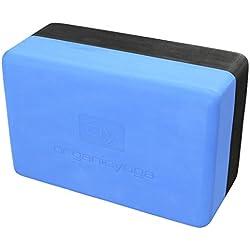 Bloque de yoga/fitness–reciclado de alta densidad EVA espuma Pilates ejercicio bloque, ladrillo, Aqua Blue/Black, H 10cm x W 23cm x D 15cm