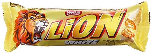 Vorsicht, Schokolade (Nestlé Lion Riegel White / Crunchy Riegel aus Knusperwaffel, Getreide & Karamell umhüllt mit weißer Schokolade - vorsicht bissig / Schokoriegel 24-er Pack)