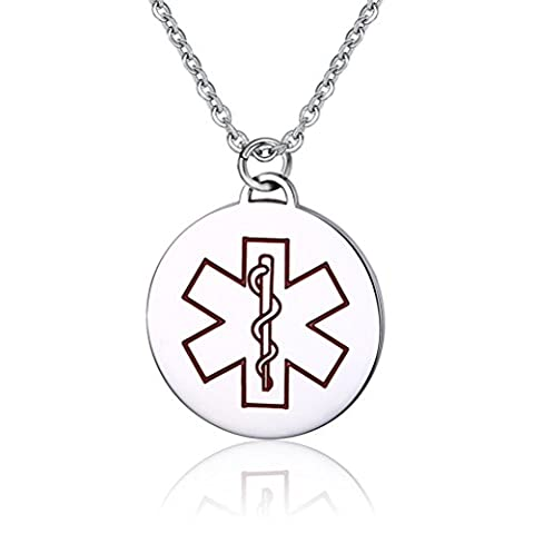 Vnox Mens Womens Stainless Steel Round Tag Medical Alert ID Pendant Necklace Diabetes with Red Enamel,Free Engraving,with 50cm Chain