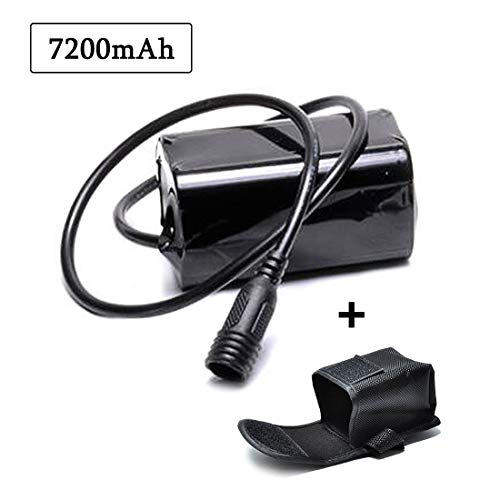 lillimasy Akkupack für Fahrrad, 7200mAh 4x18650 Batterie Pack, Wiederaufladbarer Akku für Cree T6 U2 Licht - Schraube Anschluss - Licht Cree Pack Akku Fahrrad Für