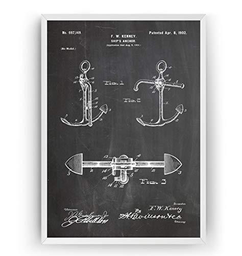 Bootsanker Patent Poster - Boat Anchor Jahrgang Drucke Drucken Bild Kunst Geschenke Zum Männer Frau Entwurf Dekor Vintage Art Gifts For Men Women Blueprint Decor - Rahmen Nicht Enthalten - Schiffe Dekor