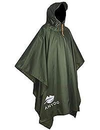Anyoo Poncho de Lluvia Reusable de Ripstop transpirante Ligero a Prueba de Agua Multiuso Impermeable con Capucha de Lona de…