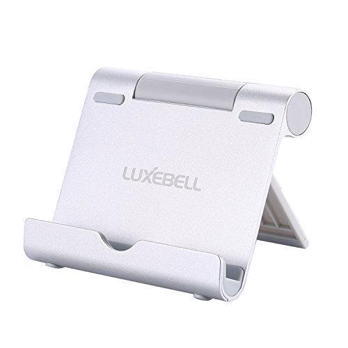 Support Tablette,Luxebell Support Universel Multi-Angles Aluminium mini Portable Stand pour Tablettes Apple iPad Air/Mini,iPhone 6s/6/SE/5S/5/4S/4,Samsung Galaxy Tab et les Smartphones,Argent