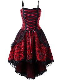 TEBAISE Damen Retro Vintage Drucken Gothic Steampunk Röcke Karneval Party  Rüschen Rock Spitze Punk Kleid Cocktailrock Cosplay Kostüm… fef1cc09fd