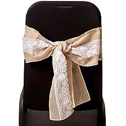 Trimming Shop Ruban de Chaise en Toile de Jute avec Nœud et Dentelle Design Rétro et Rustique pour Décoration de Chaise de Mariage, Fête, Cocktail, Tissu, kaki, 100