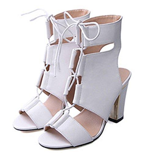 Oasap Women's Peep Toe Block Heels Slingbacks Sandals white