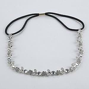 cybly (TM) Lady elastico elastico strass fiore foglia fascia fidanzamento headwraps catena testa sposa ballo 2x mpj063