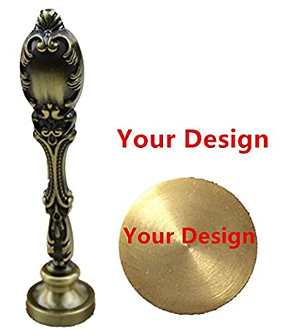 MNYR Luxury Customize Your Design Custom Picture Logo Monogram Text Sealing Wax Seal Stamp Vintage Peacock Copper Handle Set