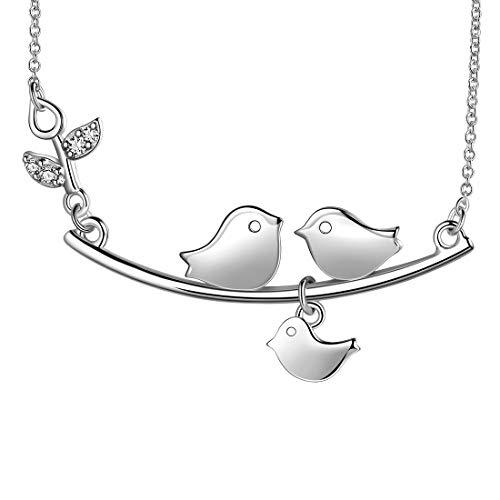 AuroraTears Vogel Halskette Choker 925 Sterling Silber mit Branch Tiere Anhänger Charm Schmuck Geschenke für Frauen und Mädchen Kind DP0196W