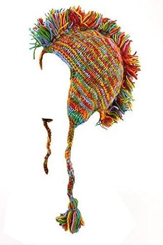 LOUDelephant 'Punk' wool knit Mohawk hat - Rainbow Space Dye