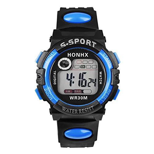 Muamaly Herren Digitale Armbanduhr, Outdoor Laufen 5 Bar Wasserdichte Militärische Uhren, Cool Sport Große Anzeige Led Sportuhr Mit Wecker Für Herren (Blau)