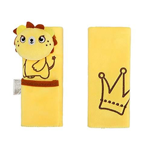 Gurtpolster für Kinder, Isuper Cartoon Gurtschoner Sicherheitsgurtposter für Autositz und Kinderwagen zum Schutz für KinderSchulter, 1 Paar, Löwe