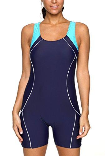 Charmo Damen Badeanzug Einteiliger Schwimmanzug Vorgeformte BH-Cups Essential mit Bein Dunkelblau XL