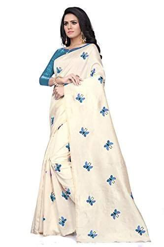 Onlinehub Georgette Saree With Blouse Piece(Onlinhubskybluebuttafoil(S)_Skyblue Free Size)