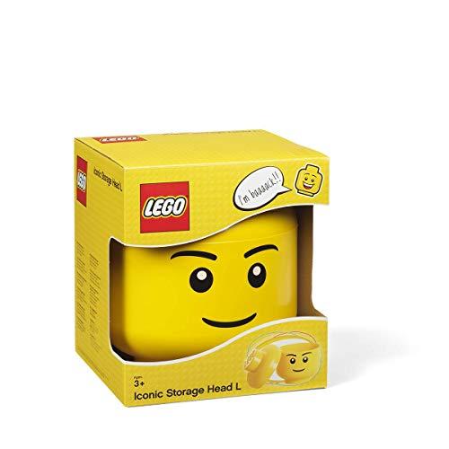 LEGO - Tête de rangement iconique - Boîte de rangement empilable -Garçon - Jaune - 8,5 L -  Taille: L