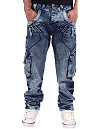 Peviani Hommes Garçons Cargo Combat Étoile Jeans G Ice Blu Stafford