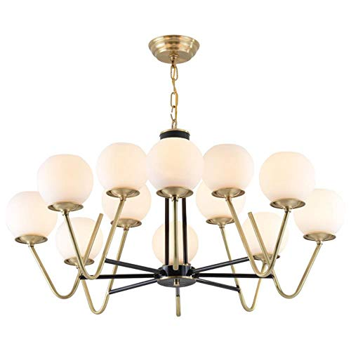 Cwill American Style Foyer Esszimmer Kronleuchter Echt Messing Magic Bean 9/12 Kopf Glas Droplight LED E27 Lampe Leuchte, Echt Kupfer, 9 Lampe -