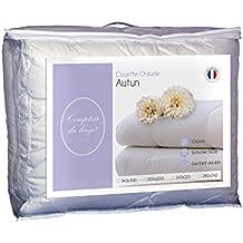 Comptoir du derrocaran Autun Edredón, blanco, blanco, 200 x 200 x 5 cm